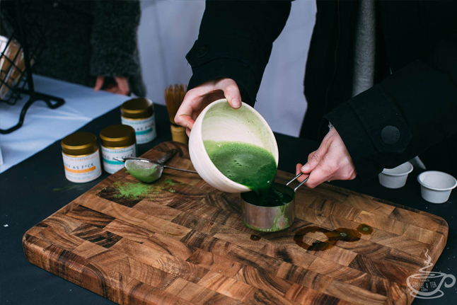 Matcha tea being made